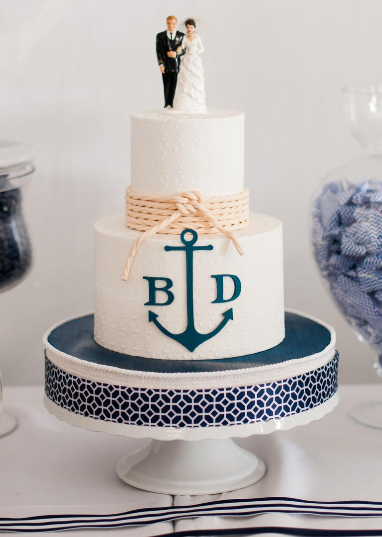 Nautical Wedding Ideas Three Tiered White Cake With Navy Anchor And Rope Knot