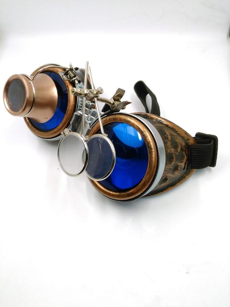93b737e9692 Bronze steampunk goggles - double loupe blue lens cyber goggles ...