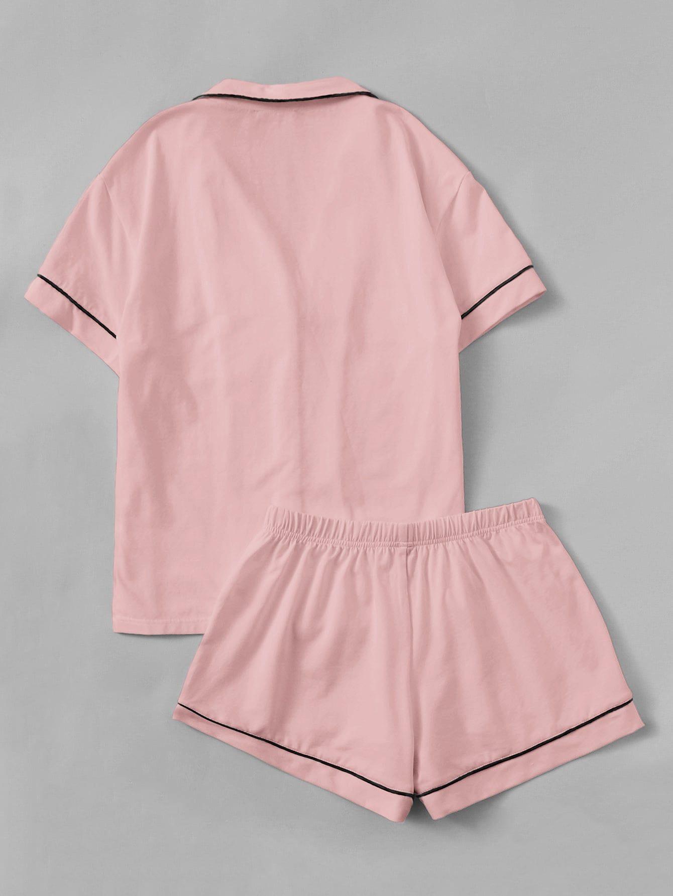 76e79ccde5 Contrast Piping Pocket Front Shirt & Shorts PJ Set Pocket#Front#Contrast.  Visit. March 2019