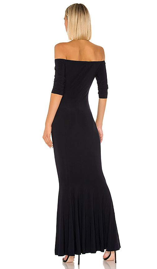 Norma Kamali Off The Shoulder Fishtail Gown in Midnight