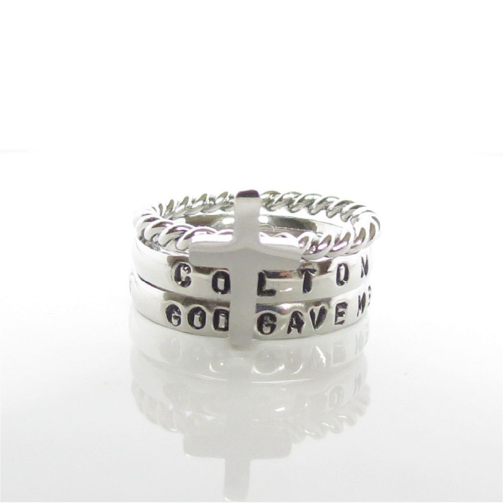 God Gave Me You Personalized Stackable Ring Engraved Stamped name Ring  #Handmade #stackable