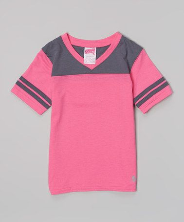 Look at this #zulilyfind! Pink Glo & Gunmetal Football Tee - Girls by Soffe #zulilyfinds