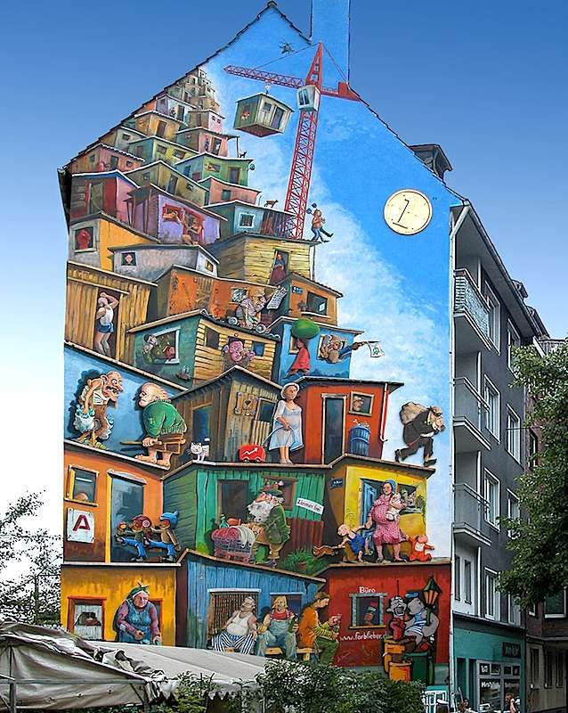 Economic Miracle Mural   Mural LocatorEconomic Miracle Mural Mural Approximate Location: Merowingerstraße 4 40223 Düsseldorf, Germany Artist: Klaus Klinger Kübra Sirinyurt