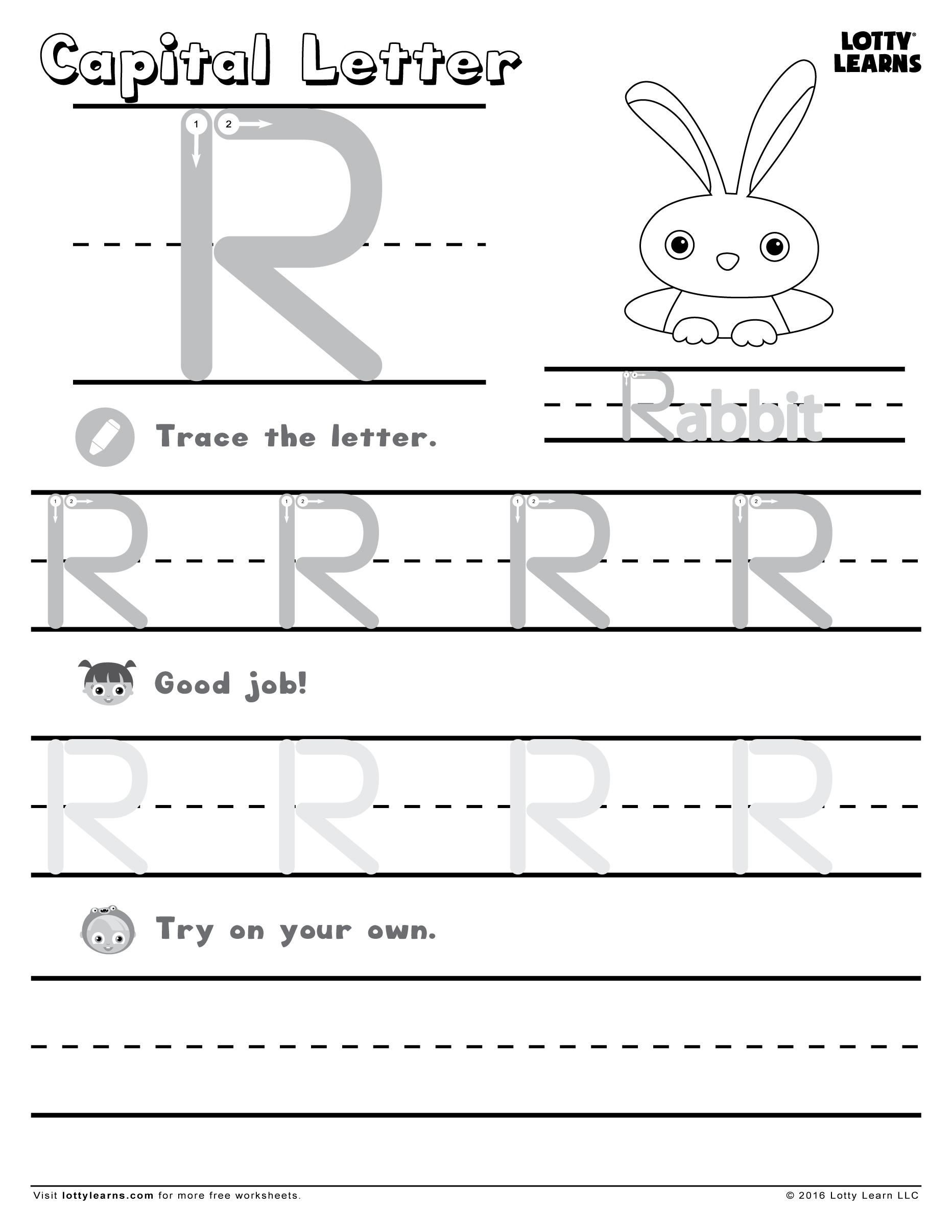 Capital Letter R Lotty Learns Alphabet Practice Sheets Alphabet Practice Learning Letters [ 2412 x 1864 Pixel ]