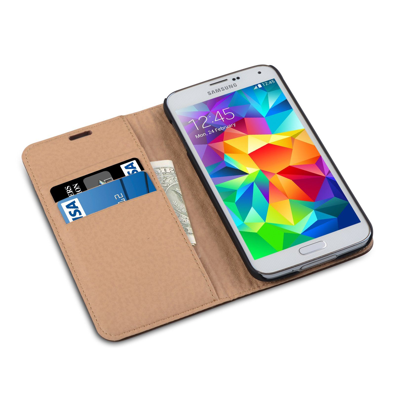Amazon [Genuine Leather] [Samsung Galaxy S5 Wallet Case]