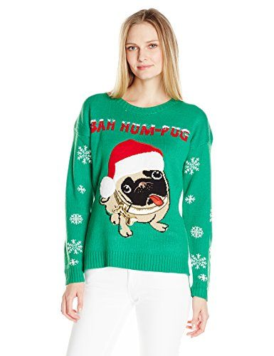 Blizzard Bay Womens Elves Holding A Present with A 3D Pocket Tunic Ugly Chritstmas Sweater
