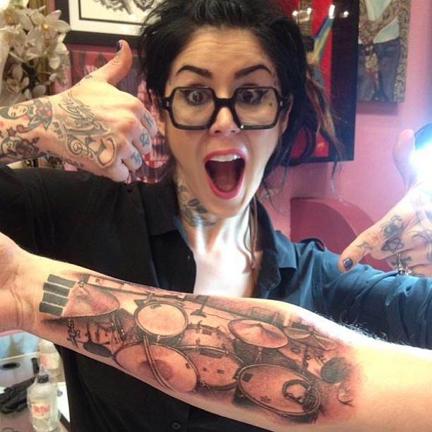 Kat Von D drum tattoo. I just started watching la ink & it's actually not bad (: