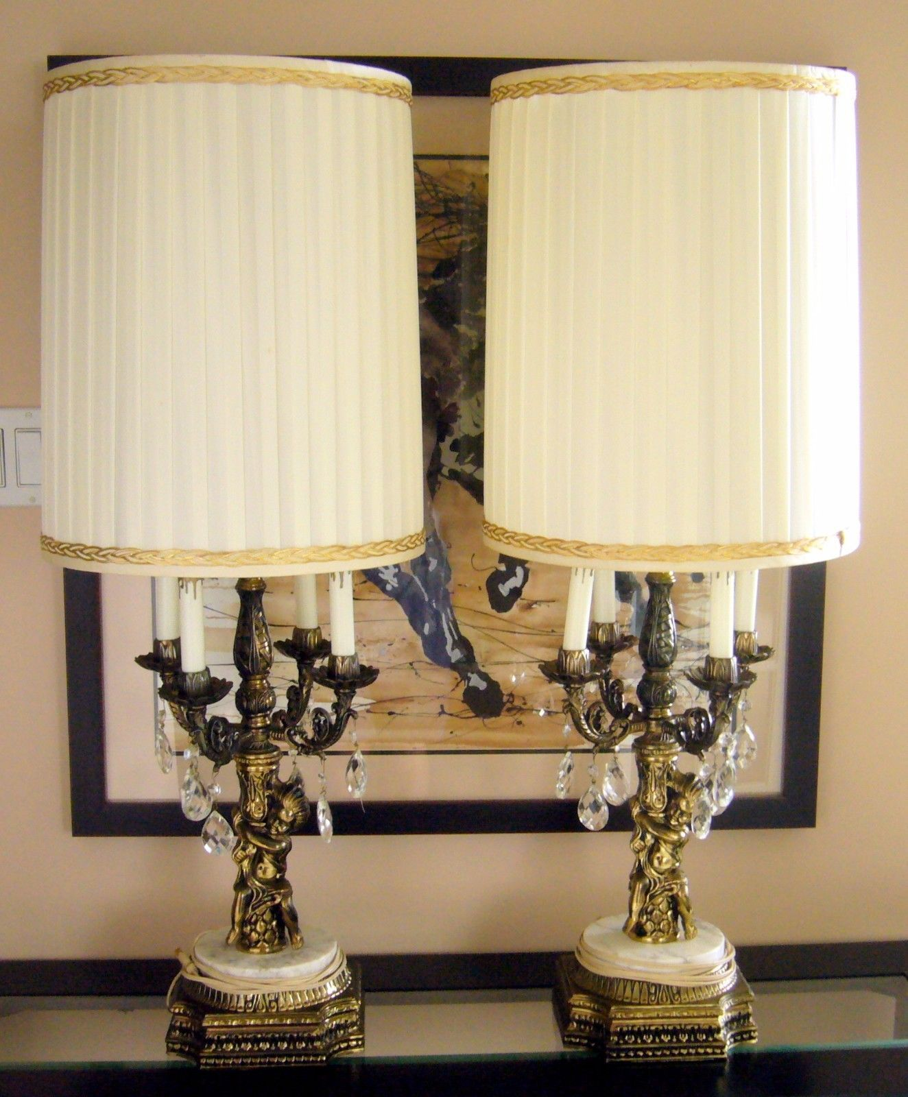 Loevsky crystal lamp antique brass base