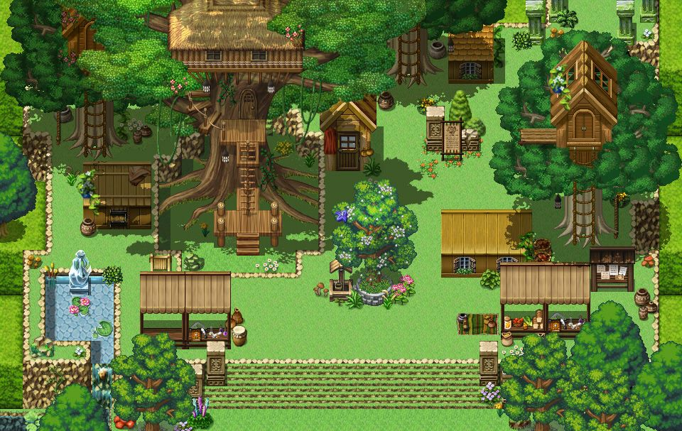 Cottage Garden (RPG Maker Map #2)   Pixel art design