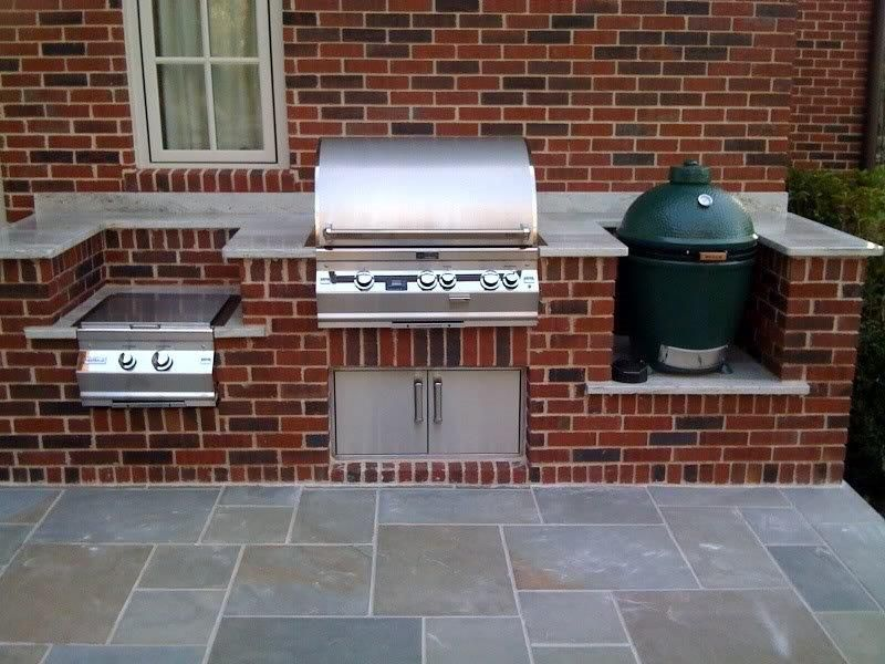 Brick Option Just Grill And Green Egg Tho Outdoor Barbeque Outdoor Kitchen Design Built In Grill
