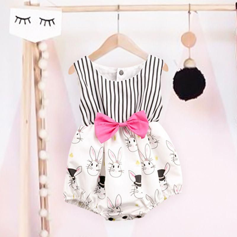 812b04b1f Check out my new Cute Rabbit Print Bow Decor Striped Bodysuit for Baby  Girl, snagged at a crazy discounted price with the PatPat app.