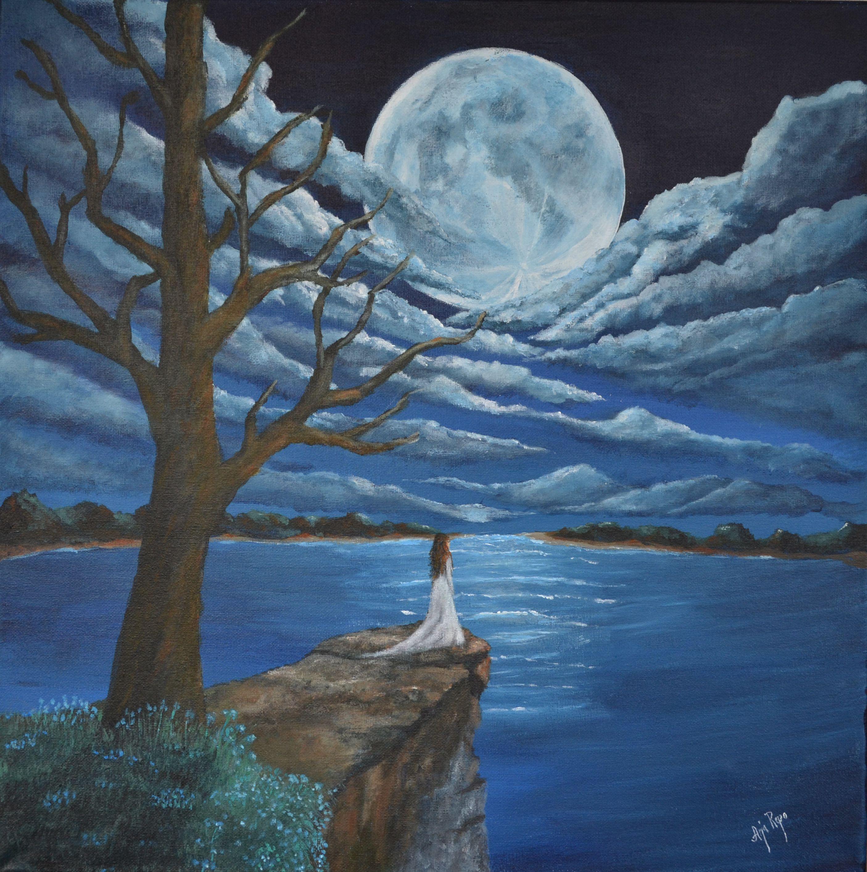 Kuun loisteessa, akryyli