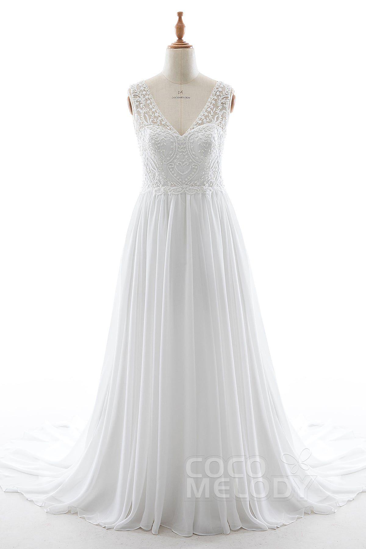 Aline court train lace chiffon and satin wedding dress ld