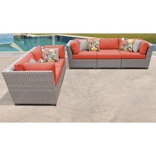 Florence 5 Piece Outdoor Wicker Patio Furniture Set 05a (Tangerine), Orange, TK Classics(Resin Wicker), Outdoor Seating, Patio Furniture