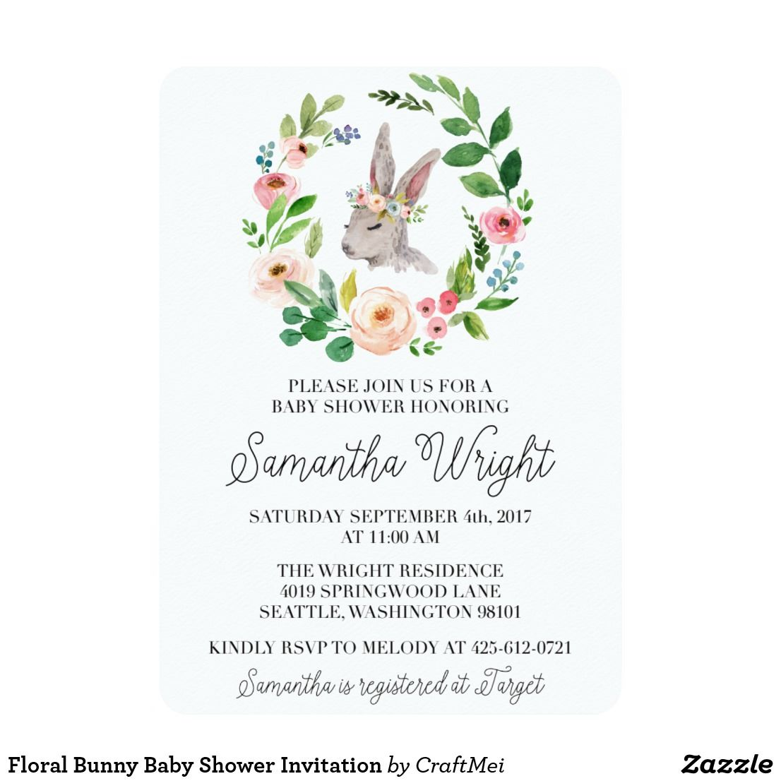 Floral Bunny Baby Shower Invitation