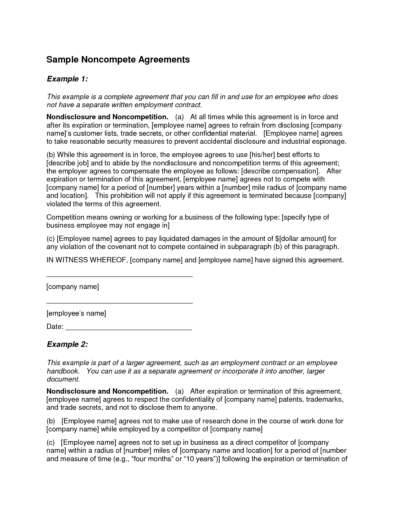 Non Compete Agreement Example Free Printable Documents Agreement Professional Templates Competing
