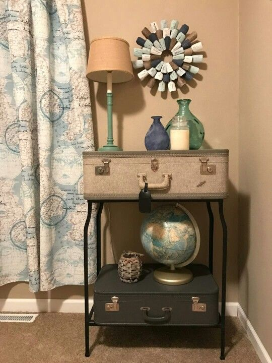 Vinette For Travel Themed Guest Room Put Together With Thrift Store And Garage Sale Finds And A Few Items From T J Maxx Travel Room Theme Garage Sale Fi