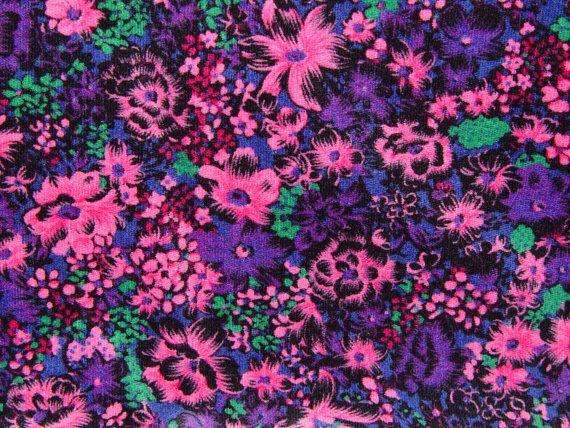 2 Yards of Colorful Vintage Cotton Velvet Pink by GandTVintage, $12.00