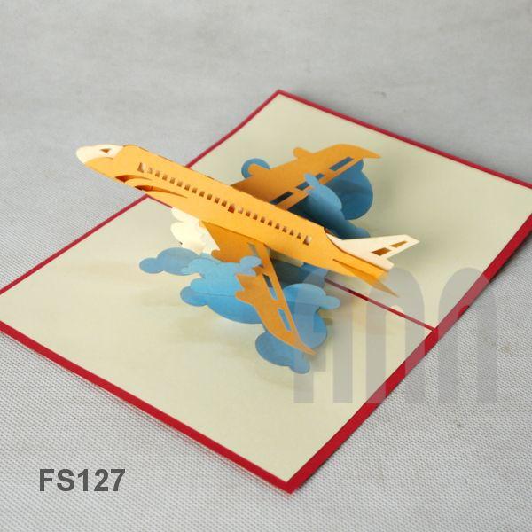 Fs127 Air Plane Pop Up Cards Paper Art Sculpture Paper Pop
