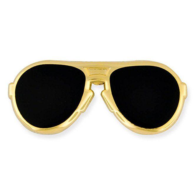 PinMart's Trendy Gold And Black Lenses Aviators Sunglasses