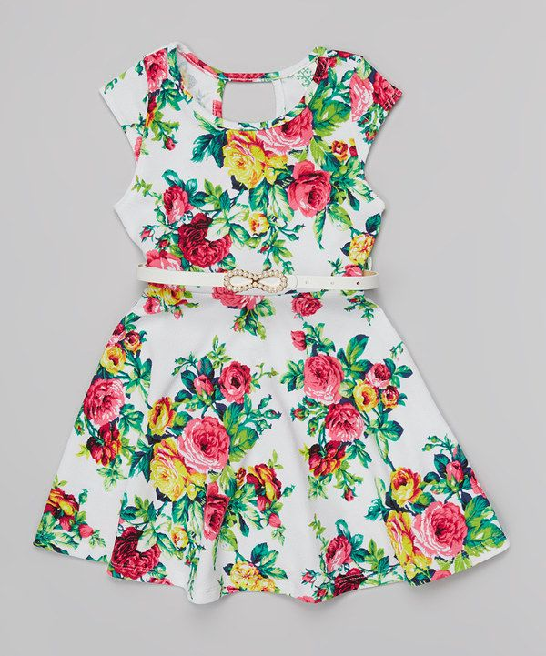 This White & Pink Floral Belted Skater Dress by Just Kids is perfect! #zulilyfinds
