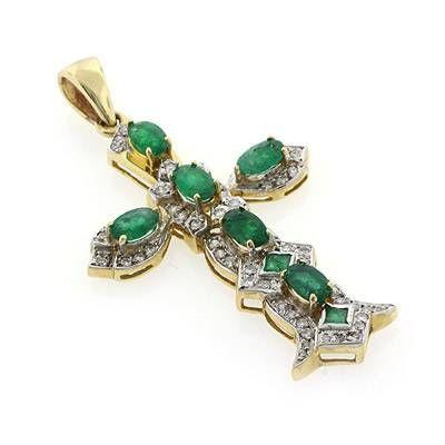 14K Yellow Gold 1.36 ctw Emerald 0.29 ct Diamond Cross Pendant