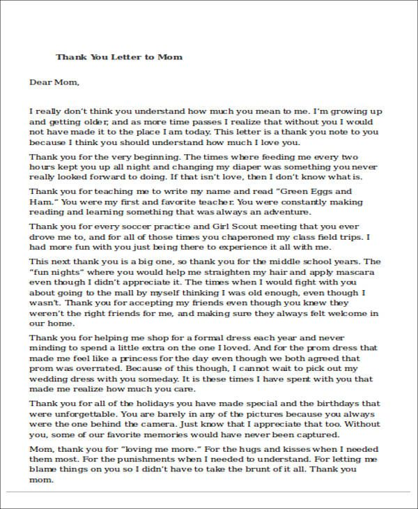 sample thank you letter mom examples word pdf