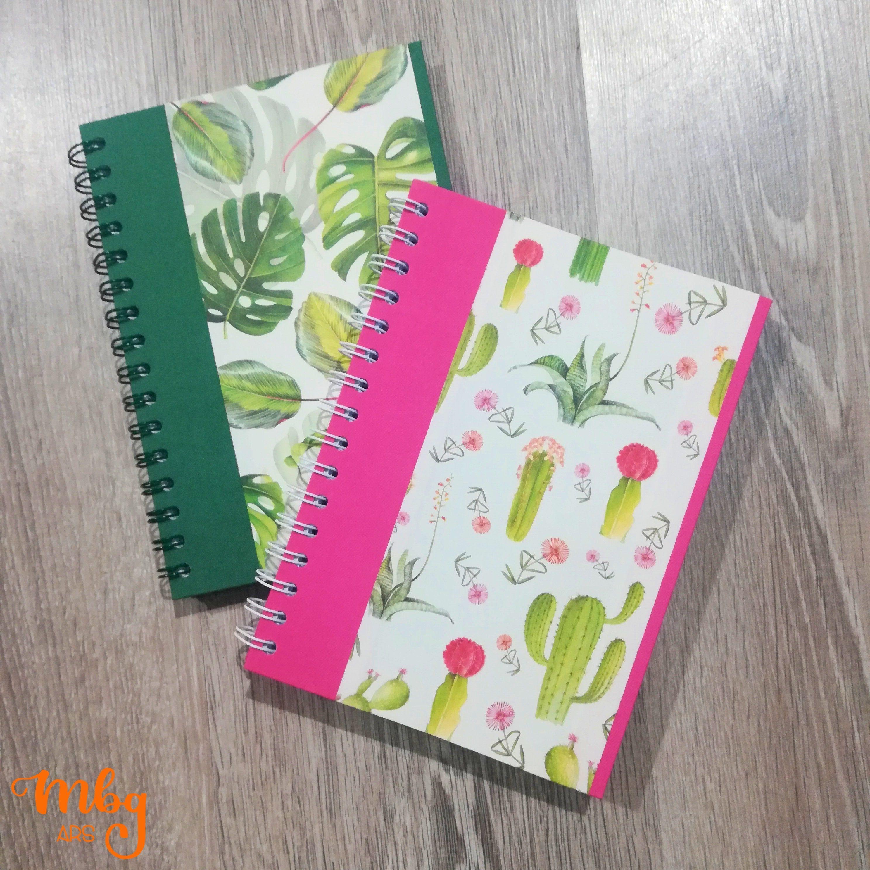 Handmade A5 Notebook Hard Cover Spiral Binding Italian Paper And Fabric Plain Paper Tropical Design Book Binding Diy Creative Notebooks Handmade Stationery