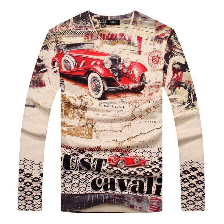 Vintage Car Printed Thicken Long Sleeve T Shirt Men 2015 New Autumn Winter Fashion  Mens Slim