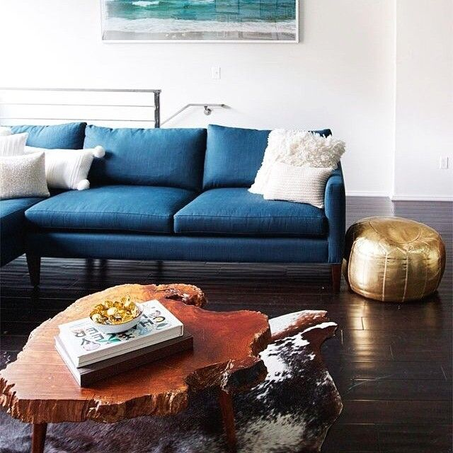 royal blue + gold + wood