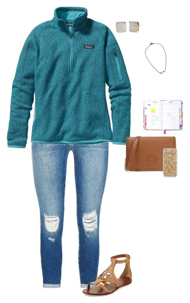 """my fire alarm just went off"" by jackelinhernandez ❤ liked on Polyvore featuring J Brand, Patagonia, Tory Burch and Kate Spade"