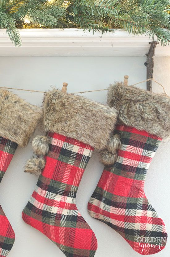 plaid christmas stockings christmas home cabin christmas decor tartan christmas country - Plaid Christmas Stockings