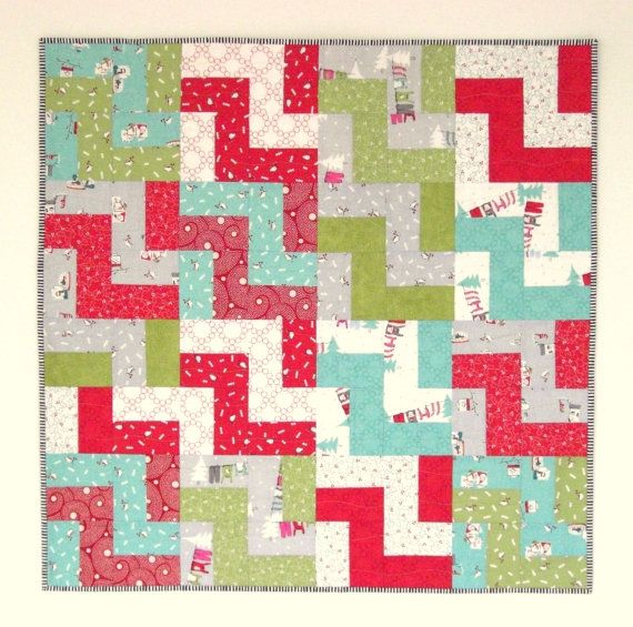 Christmas Baby Quilt Boy/Girl 33 x 33 Modern by KarenGriskaQuilts ... : quilting items - Adamdwight.com