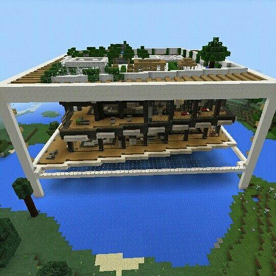 Casa moderna minecraft sobre el agua minecraftpe muy for Casas modernas minecraft keralis