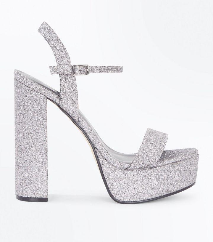 Silver Glitter Platform Block Heel