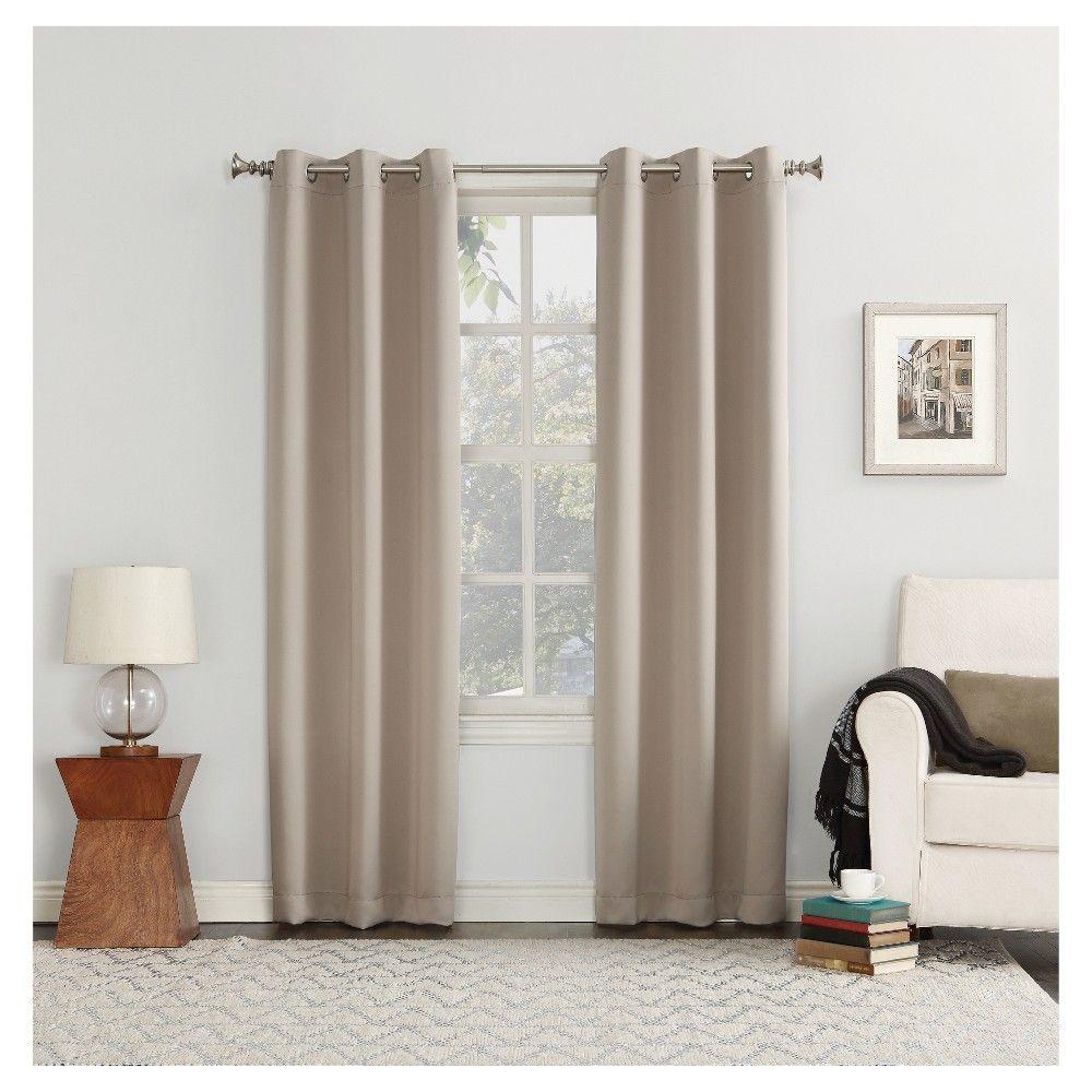 40 X108 Kenneth Blackout Energy Efficient Grommet Curtain Panel Beige Sun Zero Grommet Curtains