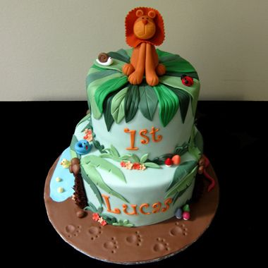 Jungle Cake With Lion Figurine Jungle Cake Lion Birthday And - Lion birthday cake design