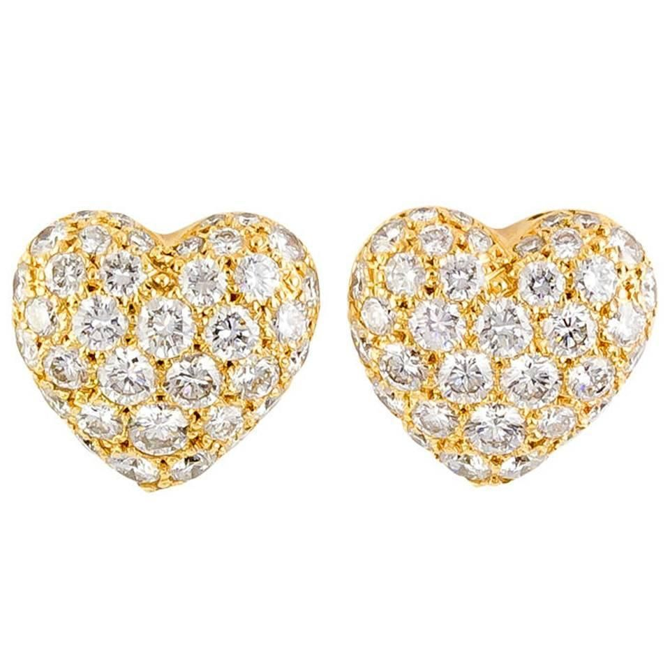 heart shaped studs mainye gold luxurman for diamond women earrings