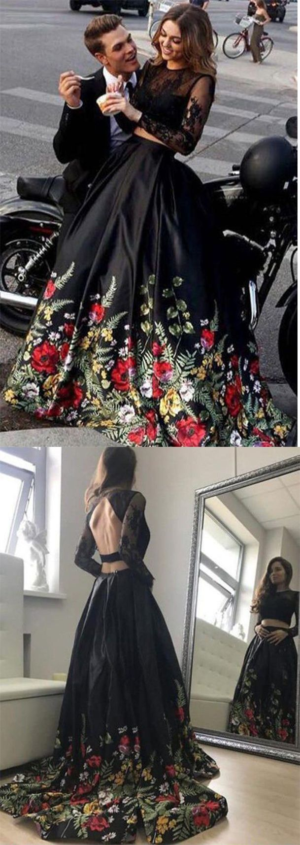 Two piece lace top floral black long sleeves satin prom dress with