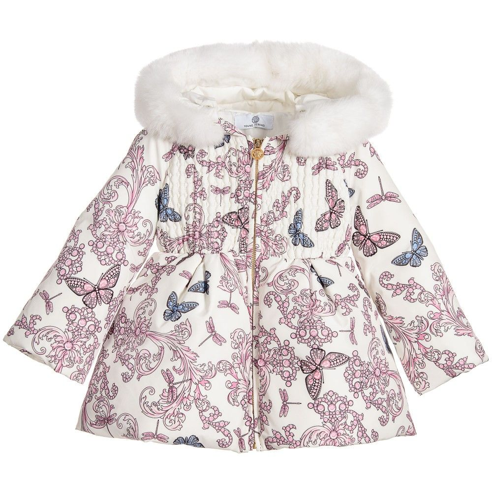 5db494565 Young Versace - Baby Girls 'Butterfly' Down Padded Coat | Childrensalon