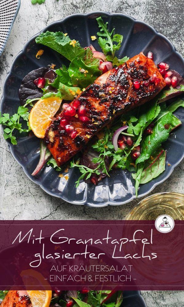 Mit Granatapfel- Melasse glasierter Lachs auf Wildkräuter- Salat. Schnell gemacht und so va-va-vooom