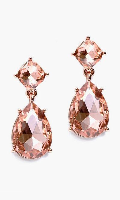 Teardrop Dangle Earrings in Rose Gold