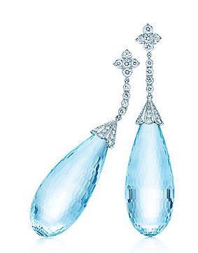 Aquamarine And Diamond Earrings By Tiffany