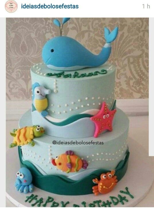 Under The Sea Cake Boy Birthday Cake First Birthday Cakes Sea Cakes