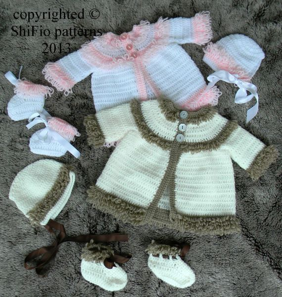 Baby Crochet Pattern Loopy Jacket Hat And Bootees 3 Sizes Crochet