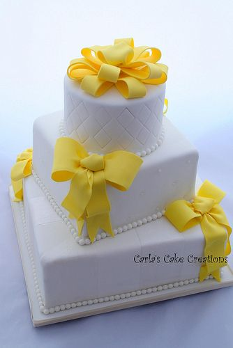 Wedding Cake - Pop of yellow  https://www.facebook.com/pages/Carlas-Cake-Creations/63169956713?ref=hl