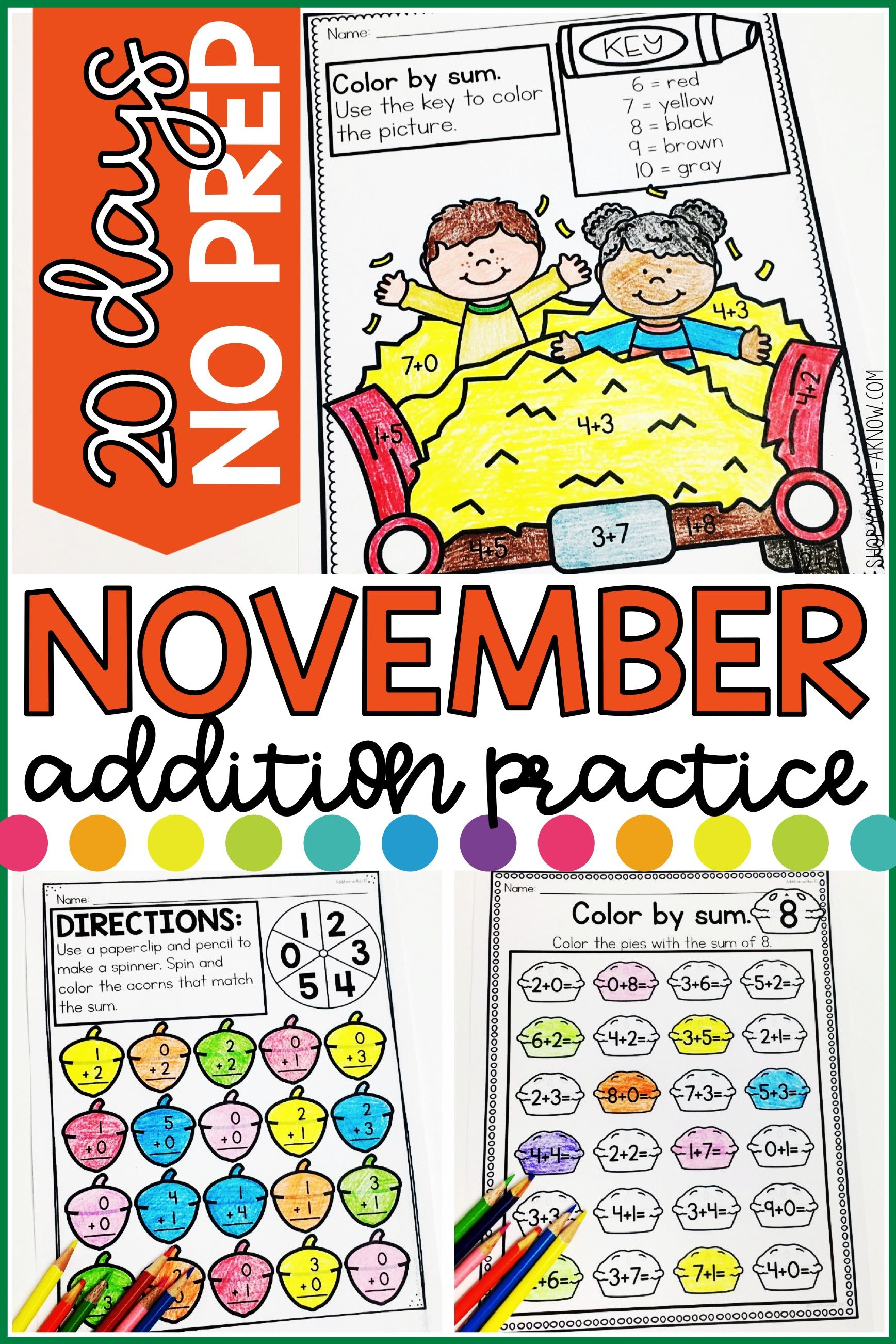 Addition Within 10 Practice Work Pages November Edition