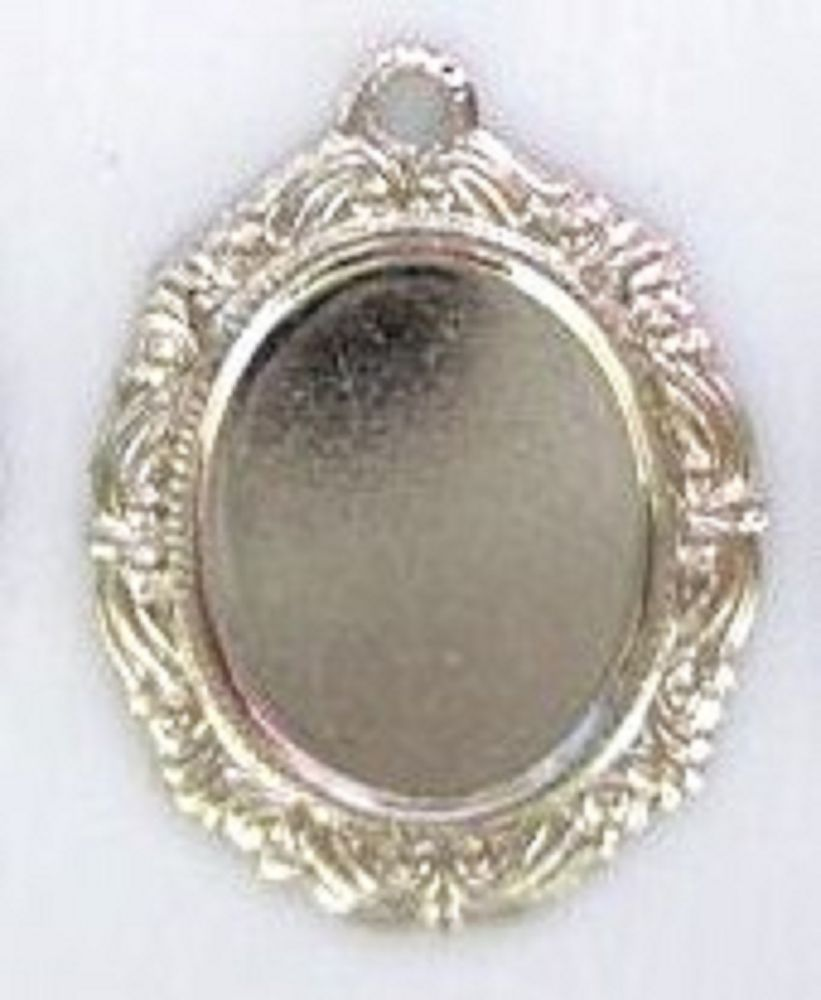 7 Silver Plated Oval Mirror Plate//Rag//Rare//Scrapbooking Charm//Beading//Craft K121