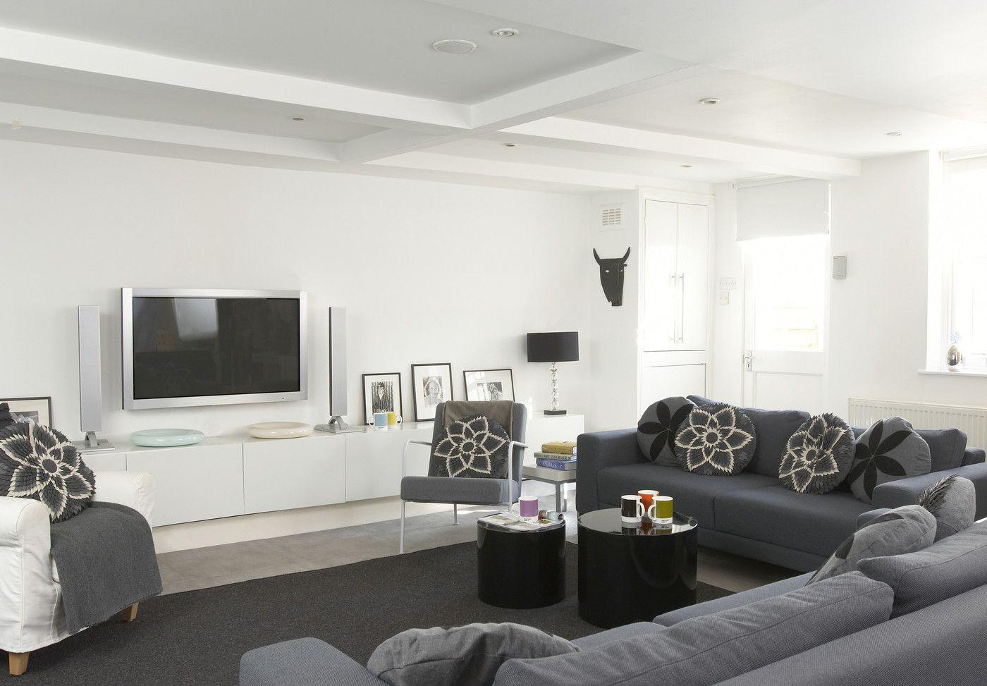 Gray Contemporary Modern Family Room Live In Peace At