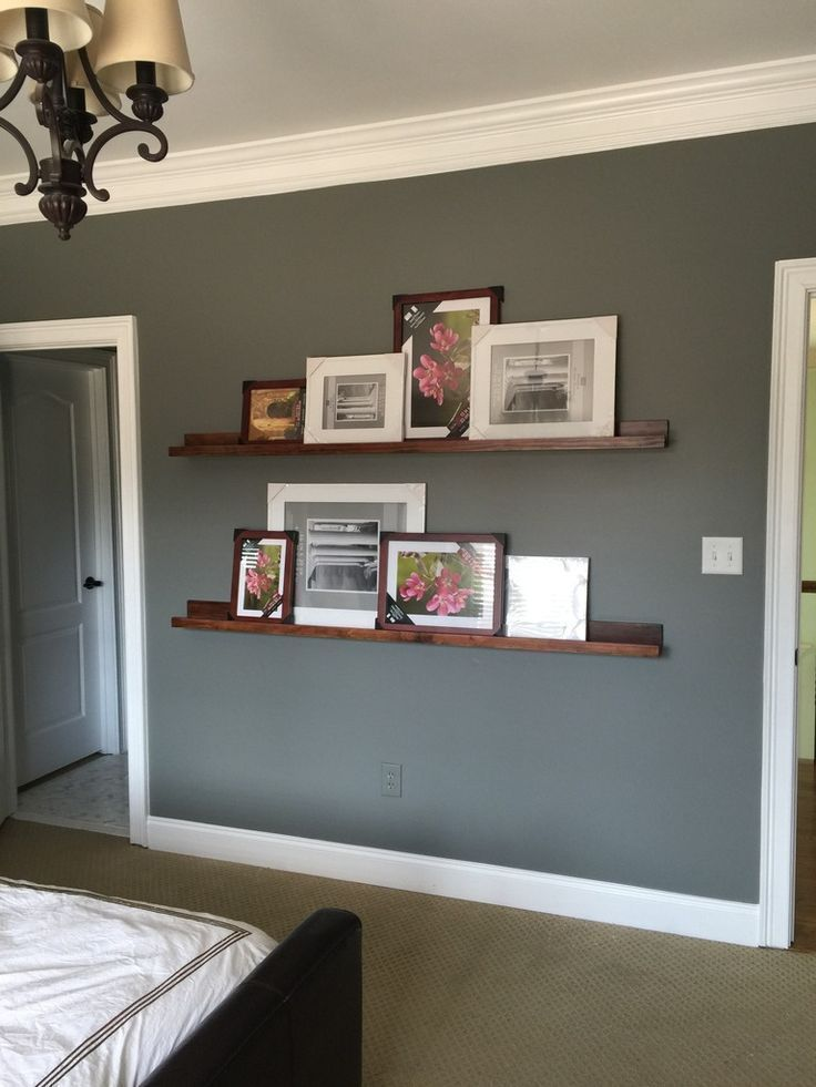 delightful white living room gray sofas suspended shelving | How To Build Pottery Barn Style Photo Shelves | Cheap home ...